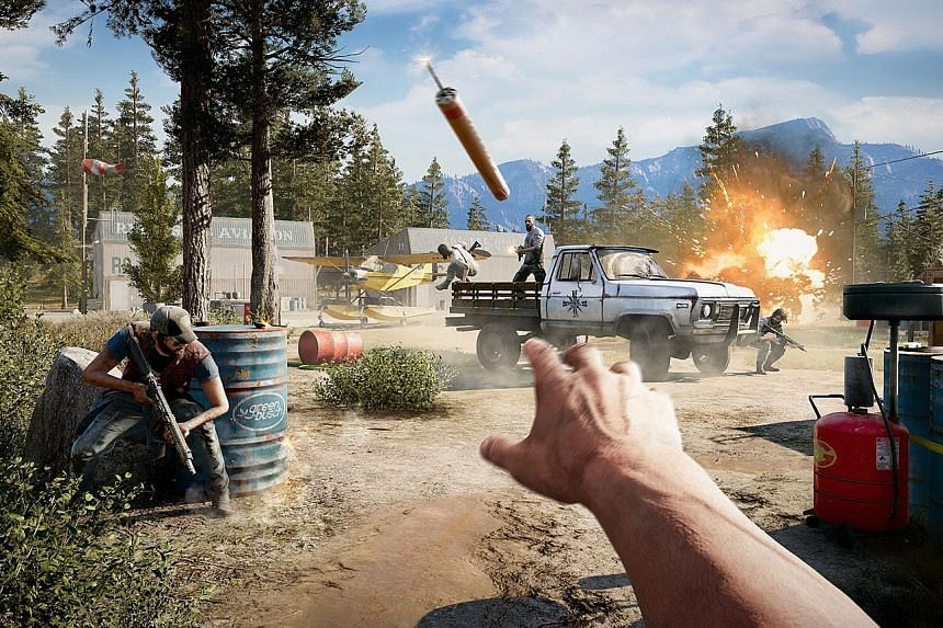 Far Cry 5 (left) is a fitting continuation in the series known for its sprawling, open-ended gameplay.