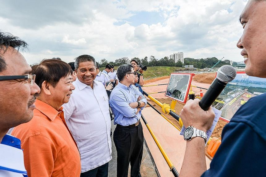 Transport Minister Khaw Boon Wan visiting the site of the future Johor Baru-Singapore Rapid Transit System Link and Thomson-East Coast Line stations in Woodlands North.