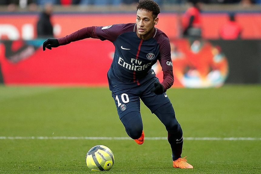 Left: Neymar's presence at the International Champions Cup in Singapore is likely to depend on Brazil's progress at the World Cup in Russia, according to his club Paris Saint-Germain. The Brazilian has not played since injuring his metatarsal in Febr