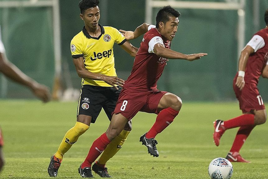 Home United's Song Ui Young in action against Balestier Khalsa in the Singapore Premier League earlier this month. The South Korean scored their second goal in Home's first win of the season.