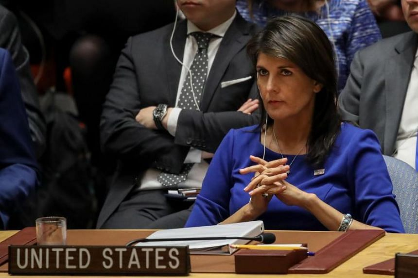US Ambassador to the United Nations (UN) Nikki Haley listens during a UN Security Council emergency meeting concerning the situation in Syria, at the UN headquarters on April 14, 2018.
