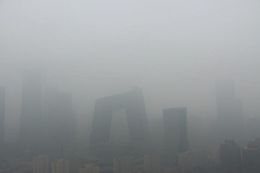 Buildings are seen amid smog on a polluted day in Beijing, China on April 2, 2018.