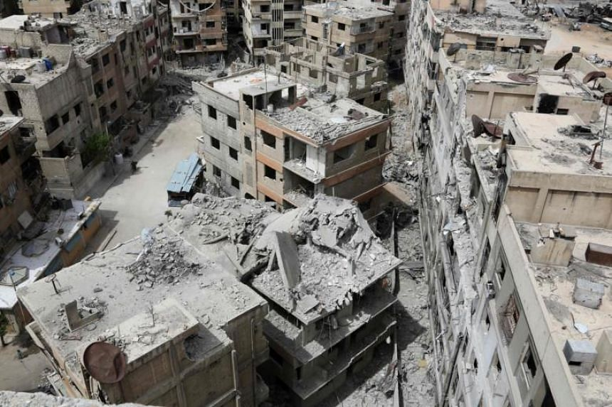 The former Syrian town of Douma on the outskirts of Damascus, after the Syrian army declared that all anti-regime forces have left Eastern Ghouta, following a blistering two month offensive on the rebel enclave, on April 17, 2018.