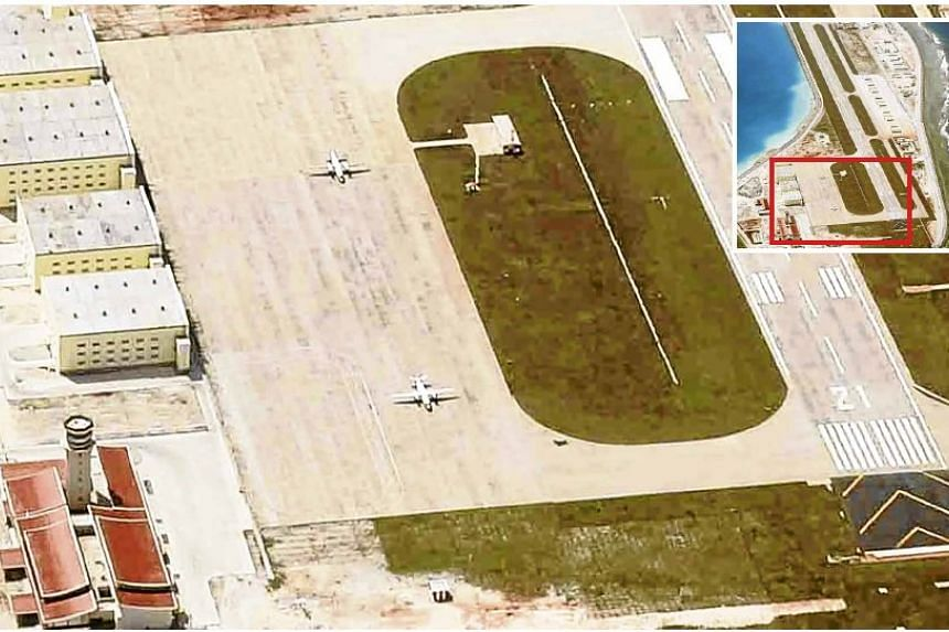 Two Chinese Xian Y-7 military transport planes that were reportedly sighted on the tarmac of Mischief Reef, in a photo that was supplied to the Philippine Daily Inquirer.