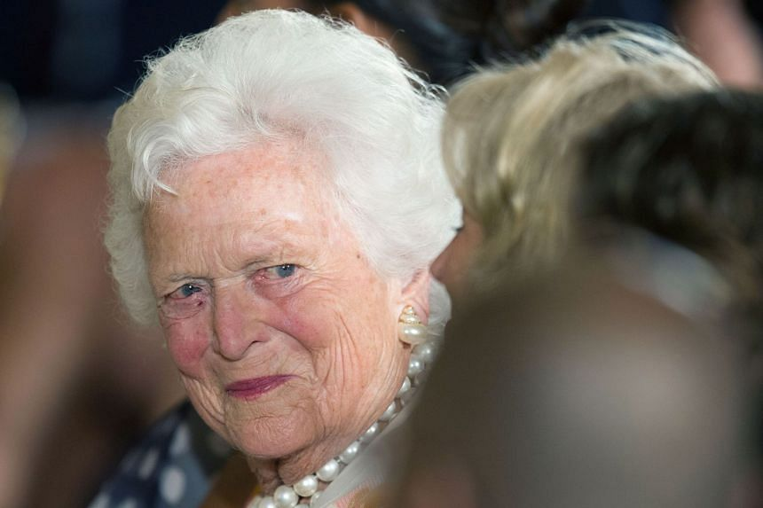 A file of former US First Lady Barbara Bush at a White House ceremony to recognise the Points of Light volunteer programme in Washington, DC, on July 15, 2013