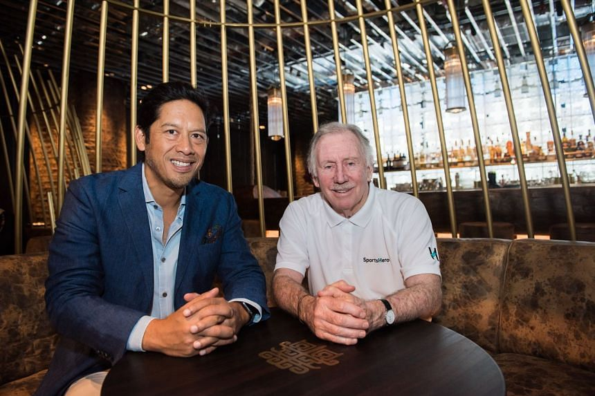 Former Australian Test cricket captain and TV commentator Ian Chappell (right) and SportsHero CEO Tom Lapping. Chappell is the global ambassador for the SportsHero prediction app.