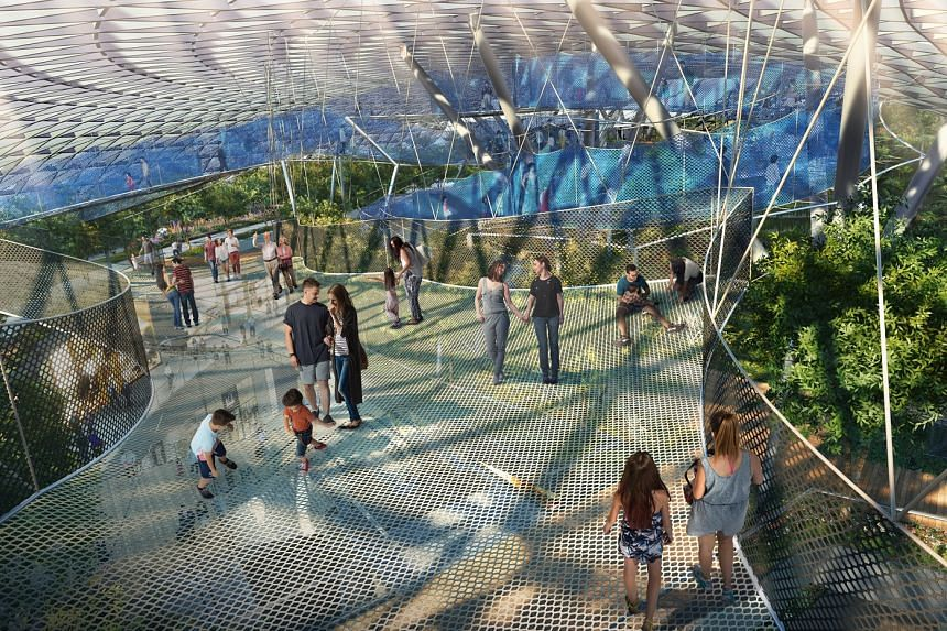 Artist's impression of the 250m-long bouncing net, one of the Canopy Park attractions at Jewel Changi Airport.