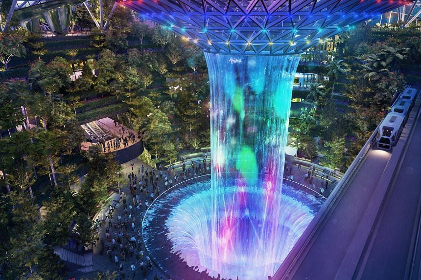 The Rain Vortex, which will transform into a light-and-sound show, is one of the features at Changi Airport's lifestyle and retail hub Jewel.