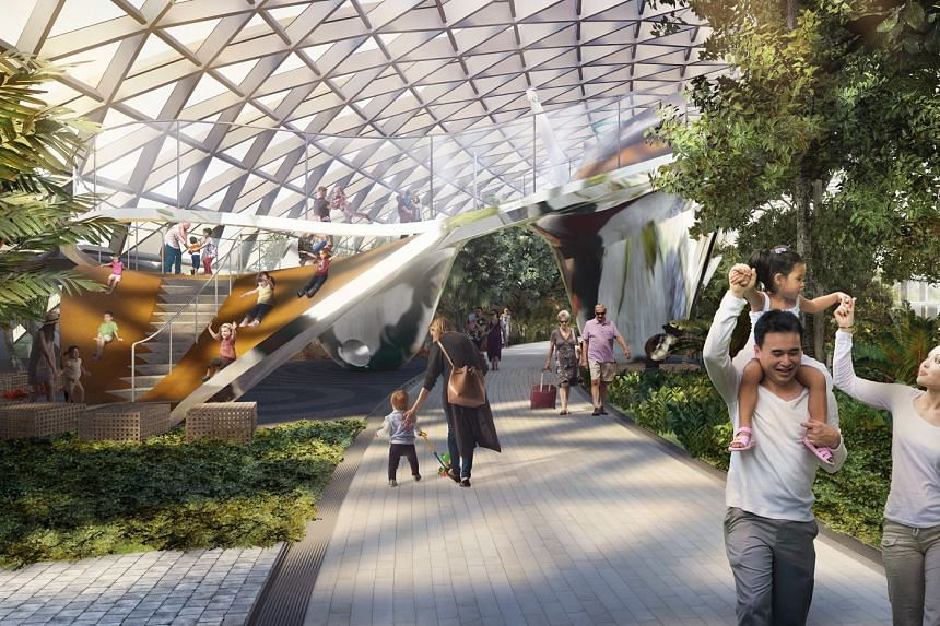Artist's impression of four integrated slides at the Canopy Park at Jewel Changi Airport.
