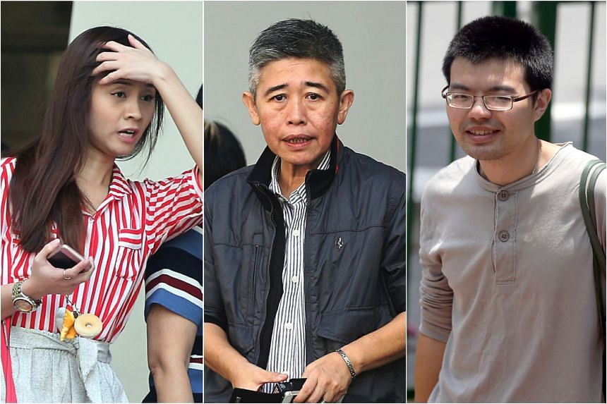 The centre's principal Poh Yuan Nie (centre) and tutors Fiona Poh Min (left) and Feng Riwen allegedly helped six Chinese students cheat during the O-level exam in 2016.
