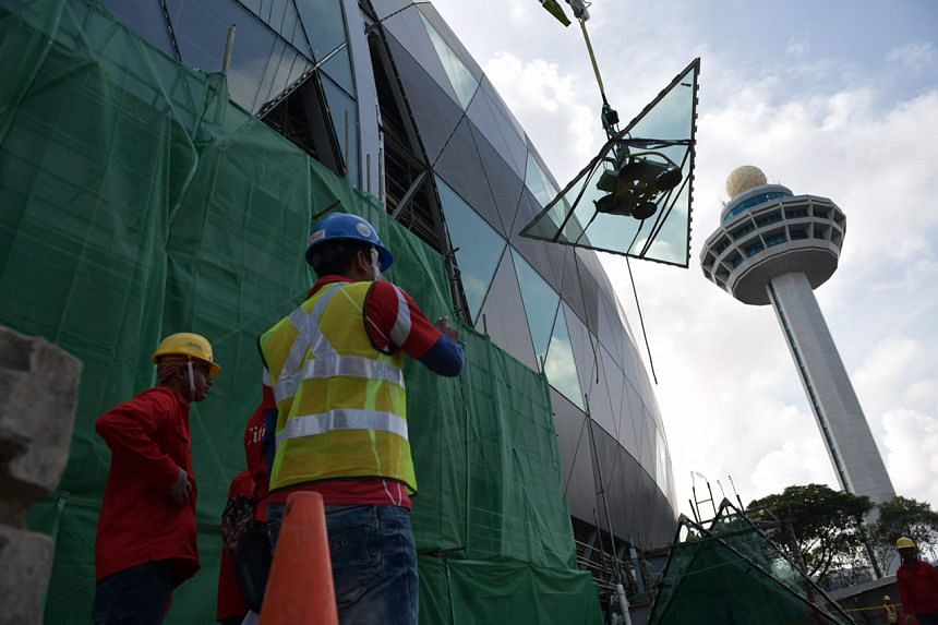 Work on Jewel Changi Airport's distinctive glass and steel facade has entered the last lap towards completion.