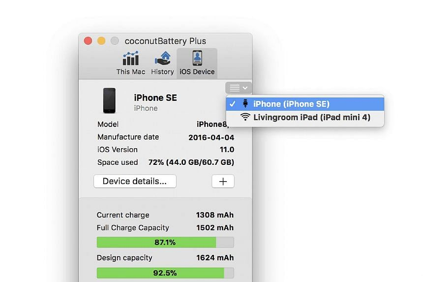 The app lets you monitor your macOS battery as well as your iOS device (above) when it is plugged in.