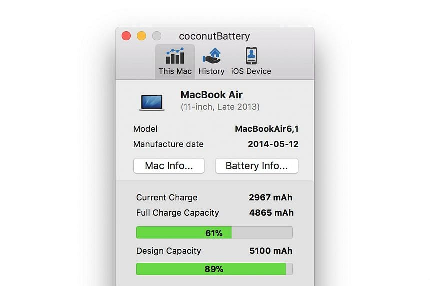 The app lets you monitor your macOS battery (above) as well as your iOS device when it is plugged in.