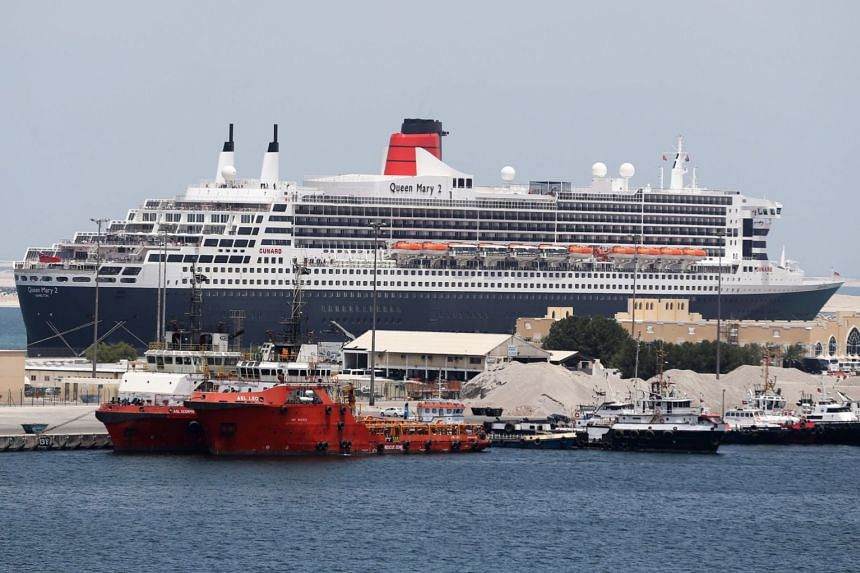The QE2 is seen docked at Port Rashid in Dubai.