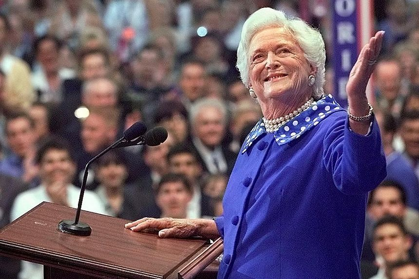 Mrs Barbara Bush at a Republican convention in 2000. As US first lady from 1989 to 1993, Mrs Barbara Bush embraced the cause of universal literacy, and founded a foundation for family literacy.