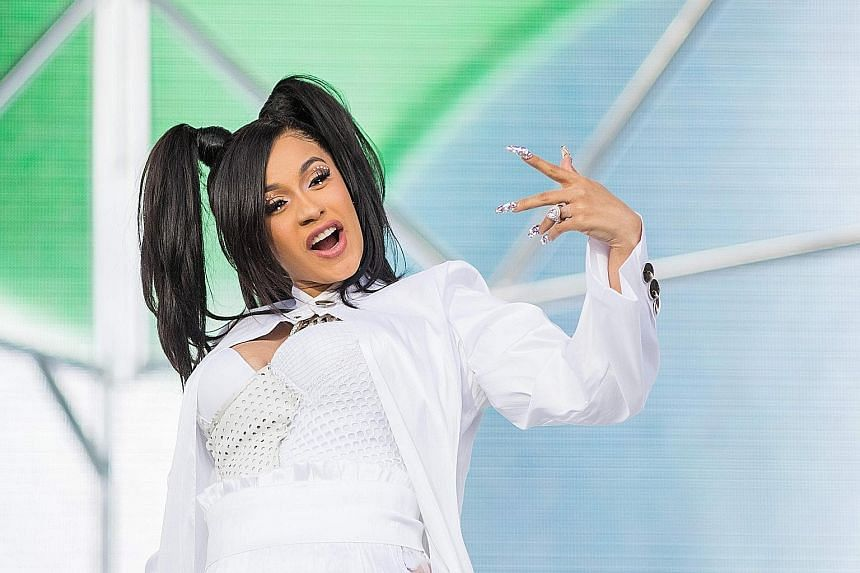 Cardi B performing at the Coachella Music and Arts Festival in California on Sunday.