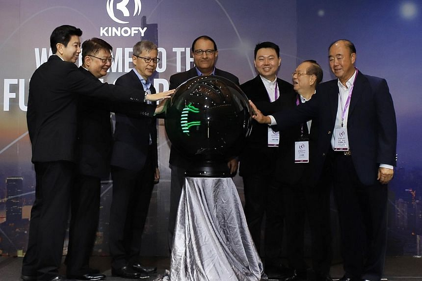 At the launch of Kinofy's e-commerce platform yesterday were (from left) Kinofy co-founders Ting Yen Hock and Paul Chong, Enterprise Singapore assistant chief executive Yew Sung Pei, Minister for Trade and Industry (Industry) S. Iswaran, Kinofy co-fo
