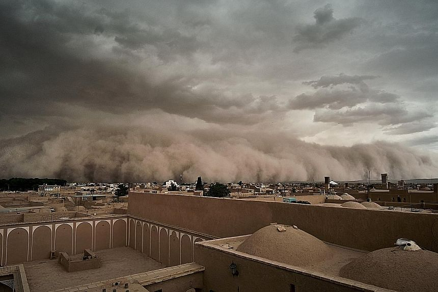 A massive sandstorm rolling into Yazd, Iran, on Monday. Dramatic pictures and videos of the storm have been posted on social media. According to the Iranian Students News Agency, 10 people were injured as the sandstorm passed through the province in