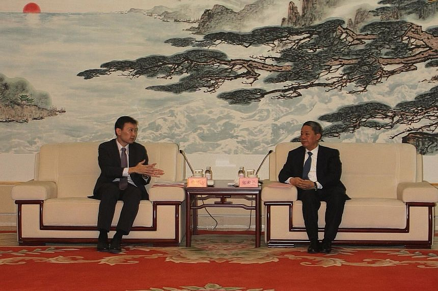Senior Minister of State for Communications and Information and Health Chee Hong Tat (left) met Yantai party secretary Zhang Shuping when Mr Chee visited the port city. Both sides affirmed the positive relations between Singapore and Shandong.