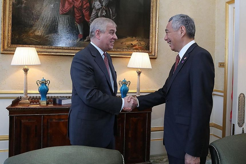 Prime Minister Lee Hsien Loong meeting Britain's Prince Andrew in London yesterday on the sidelines of the Commonwealth Heads of Government Meeting.
