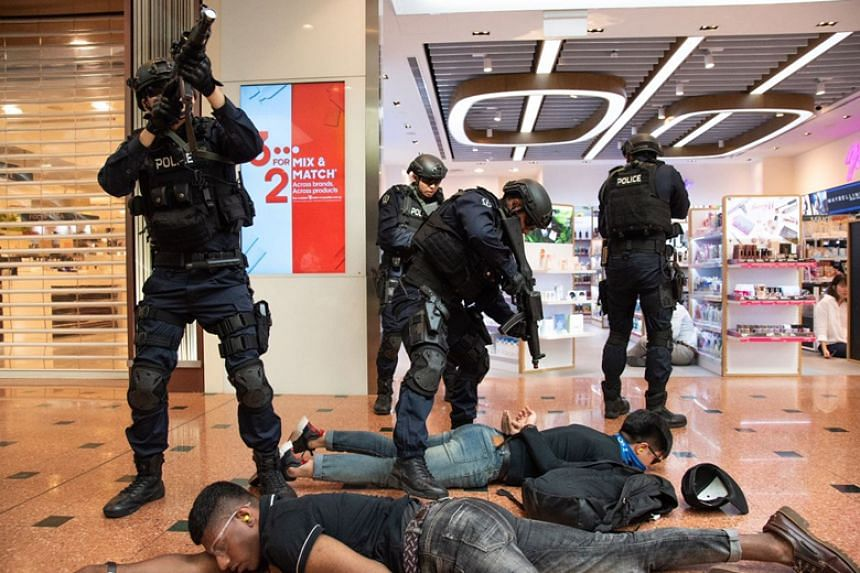 A counter-terrorism exercise codenamed Heartbeat taking place in Jurong Point Shopping Centre on April 19, 2018.