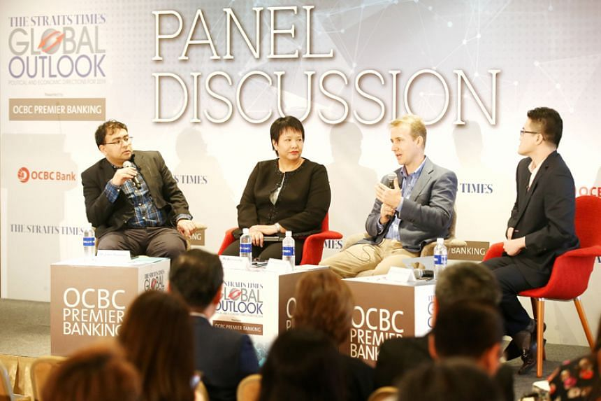 (From left) The Straits Times foreign editor Zakir Hussain, OCBC economist Selina Ling, Iseas - Yusof Ishak Institute senior fellow Francis Hutchinson and ST's Malaysia bureau chief Shannon Teoh at the ST Global Outlook Forum on April 19, 2018.