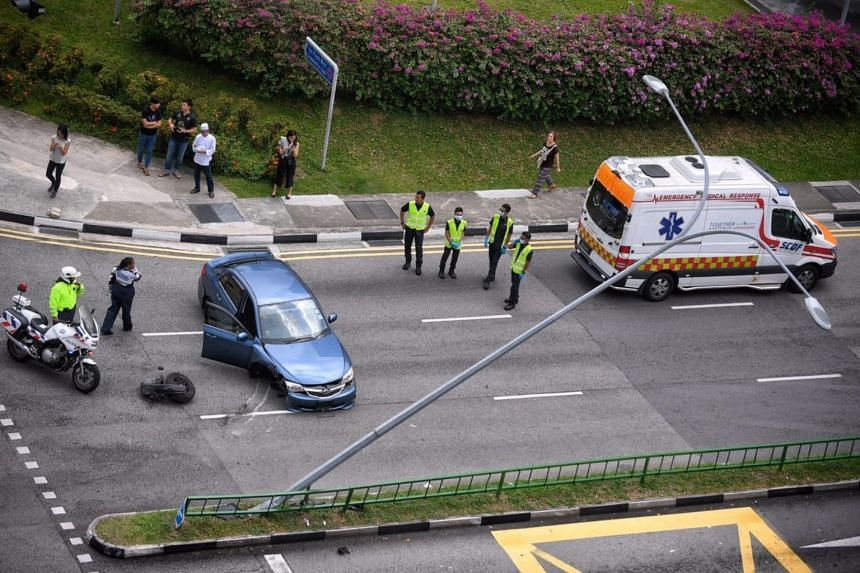 An aerial view of the accident scene in Lorong 1 Toa Payoh.