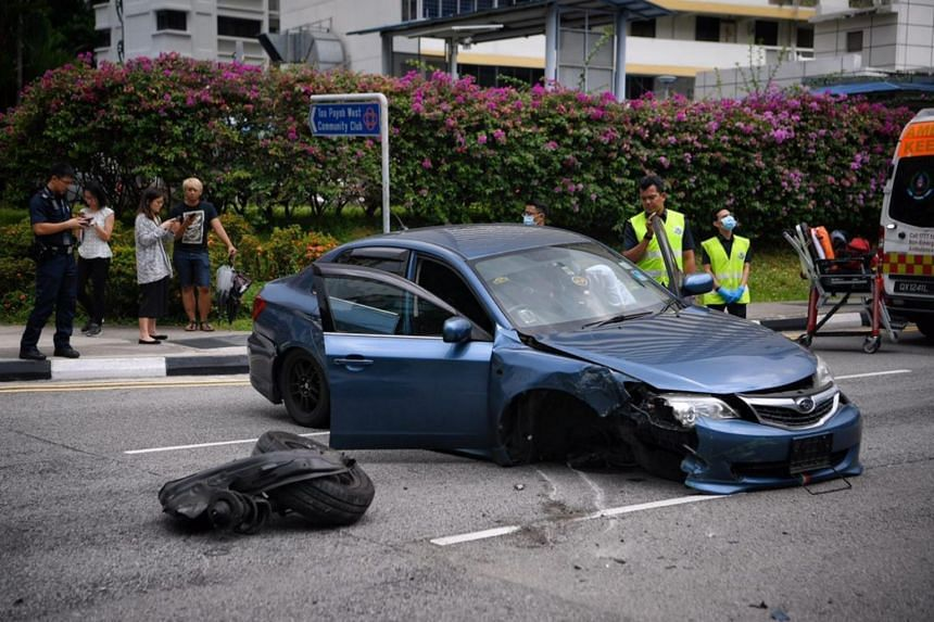 The blue Subaru Impreza was badly damaged in the accident, but the driver was not injured.