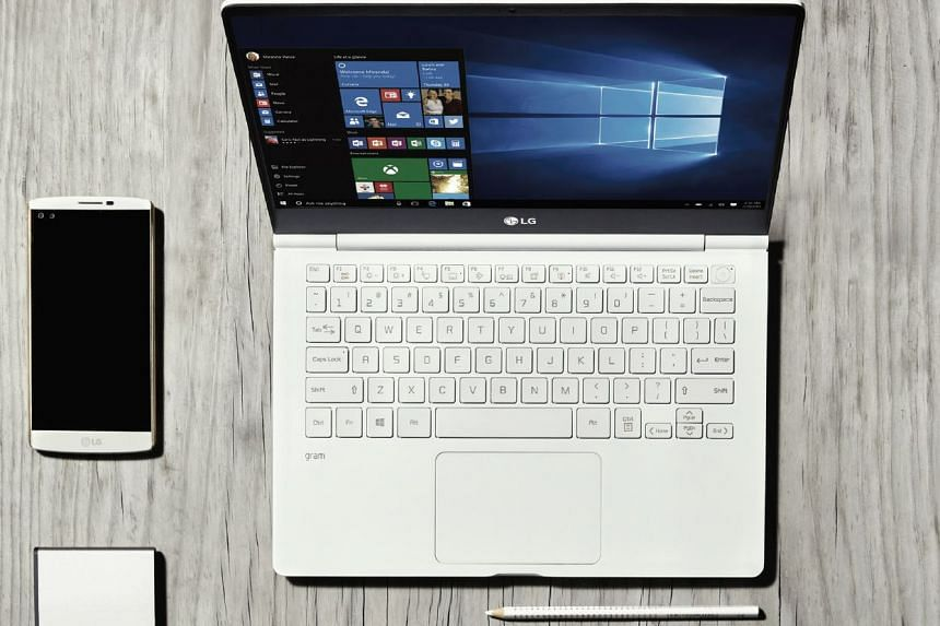 The new LG gram ultrabooks are sleek, lightweight laptops that are said to last almost an entire day on a single charge. PHOTO: LG
