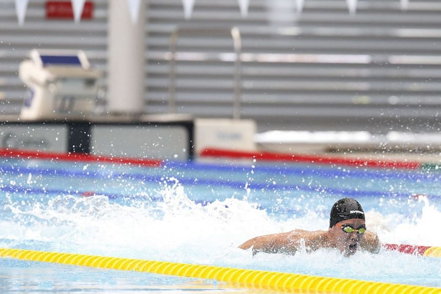 Mikkel Lee of Anglo-Chinese School (Independent) on his way to equalling his personal best and setting a meet record of 24.73sec in the B Division 50m butterfly final at the OCBC Aquatic Centre on April 19, 2018.