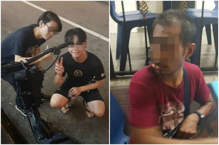 Mr Muhammad Azaari and his 42-year-old friend Muhd Sairi, who bought the e-scooter, returned it to its original owner (left). (Right) The man who allegedly stole the e-scooter in Geylang, Lorong 35, and tried to sell it to the pair for $80.