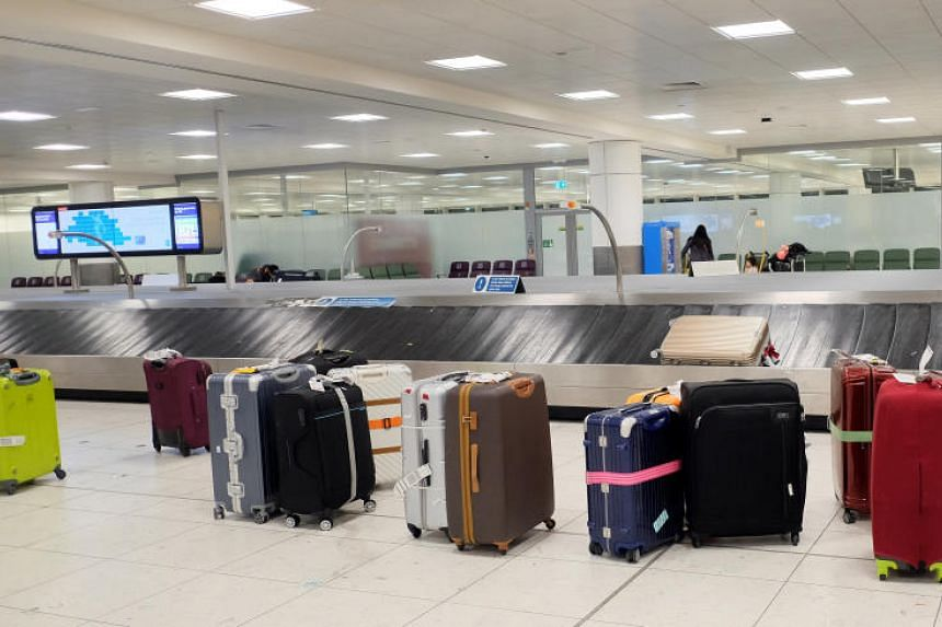 Luggage seen at London Gatwick Airport in London, Britain, on Jan 13, 2018.