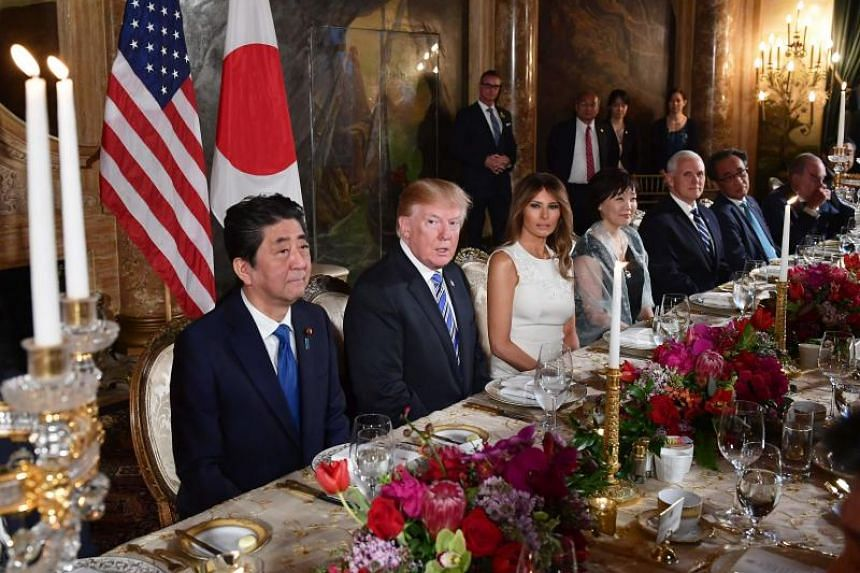 Japan's Prime Minister Shinzo Abe attending a dinner at US President Donald Trump's Mar-a-Lago estate in Palm Beach, Florida, on April 18, 2018.