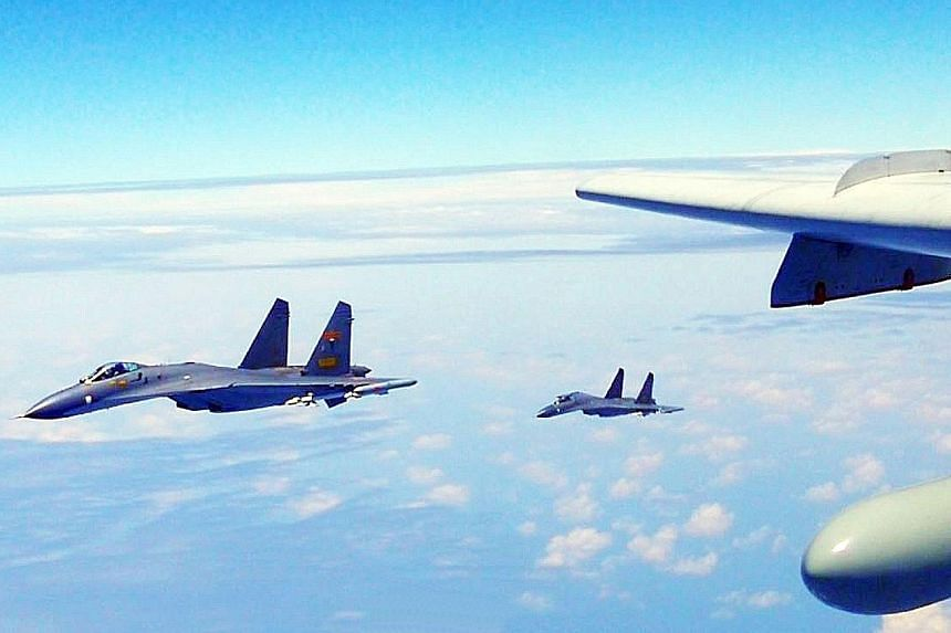 H-6K bombers, Su-30 and J-11 fighters and reconnaissance aircraft took part in a patrol around Taiwan, a Chinese air force spokesman said yesterday. In a statement on its microblog, H-6K captain Zhai Peisong was quoted as calling the Taiwan fly-by a