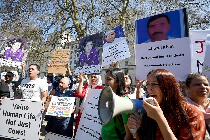 Protesters outside Downing Street on Wednesday as Indian Premier Narendra Modi arrived for talks with British Prime Minister Theresa May.