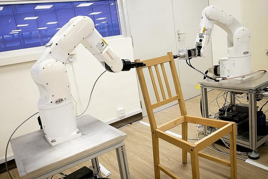 "Each robotic arm has grippers to pick up objects and force sensors to determine how strongly the ""fingers"" are gripping, making the robot more human-like in its manipulation of objects."