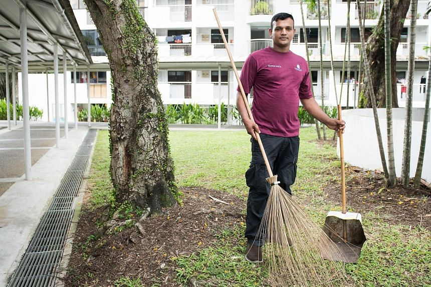 Mr Kalam Mohd Abu, who works as a cleaner in Commonwealth West, earns less than $1,000 a month. He sends his money back to Bangladesh to his parents, wife, and two-year-old daughter, whom he has yet to meet. He gained instant fame when a Facebook pos