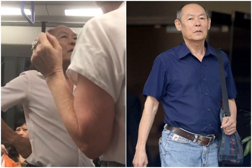 Gan Thean Soo, 71, committed the offences in a train heading towards Farrer Park station at around 8.15pm on April 19 last year.