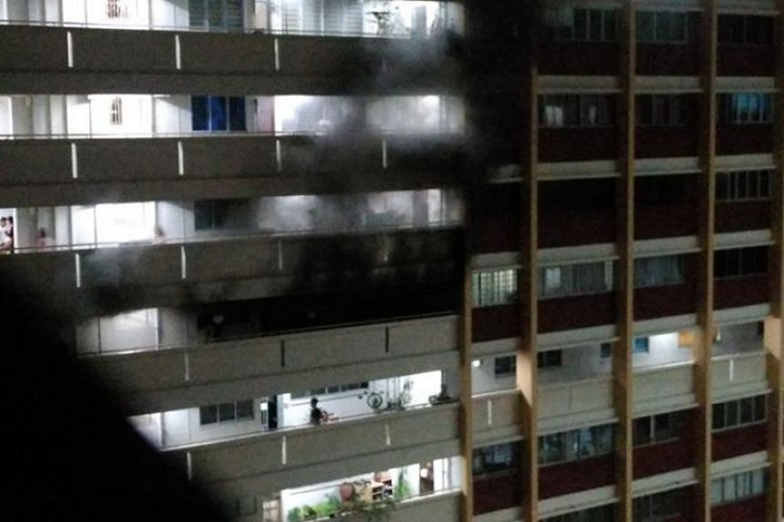 A total of nine residents were evacuated from an Yishun Housing Board flat after a fire broke out on April 20, 2018.
