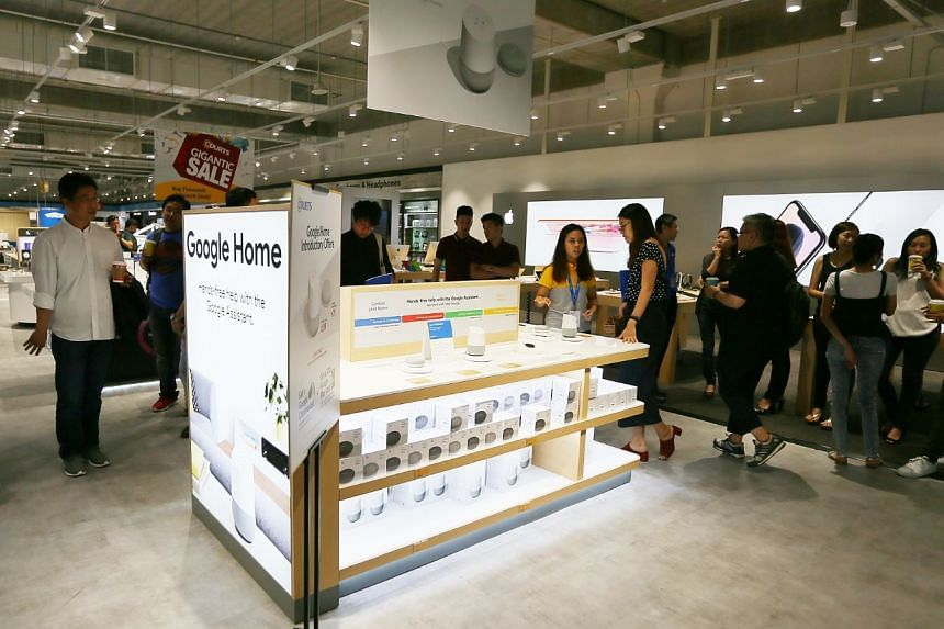 The Google Home and Google Home Mini retails displays at Courts Megastore Level 3, on April 20, 2018.