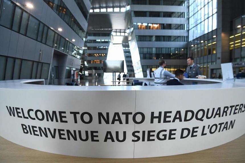 The welcome desk at the new Nato headquarters during a press tour of the facilities on April 19, 2018.
