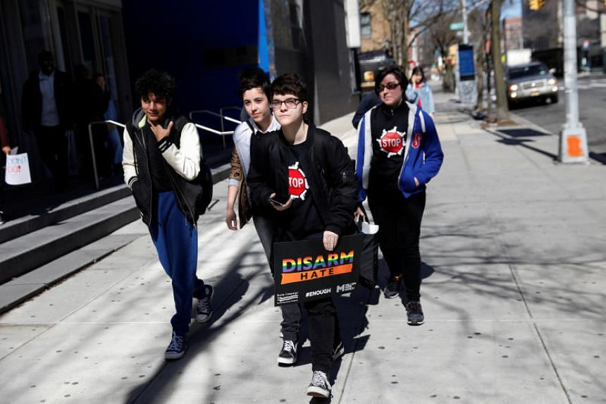 Students from the Frank Sinatra School of the Arts participate a nationwide walkout by students on the 19th anniversary of the Columbine High School shooting, in Queens, New York, US, on April 20, 2018.