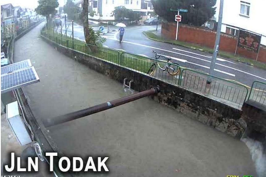 A CCTV image showing floods in Jalan Todak, on April 20, 2018.