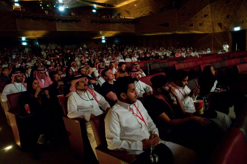 VIPs await a screening of Black Panther, the first public movie screening in Saudi Arabia following a decades-long ban, in Riyadh, on April 18, 2018.