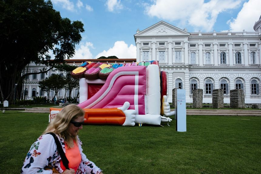 An inflatable playground outside the National Museum.