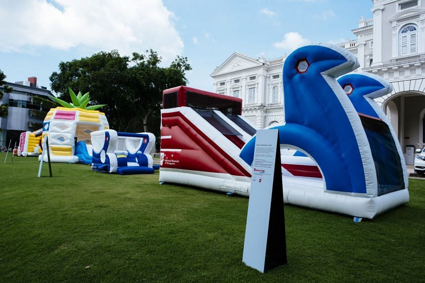 Bouncy inflatable playgrounds outside the National Museum. Visitors will get to share their wishlist and weigh in on how their ideal playground looks like at a new exhibition on the country's playgrounds.