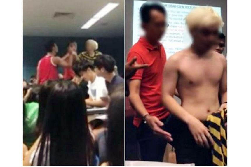 Videos of the tussle in a Temasek Polytechnic lecture theatre are making the rounds on the Internet.