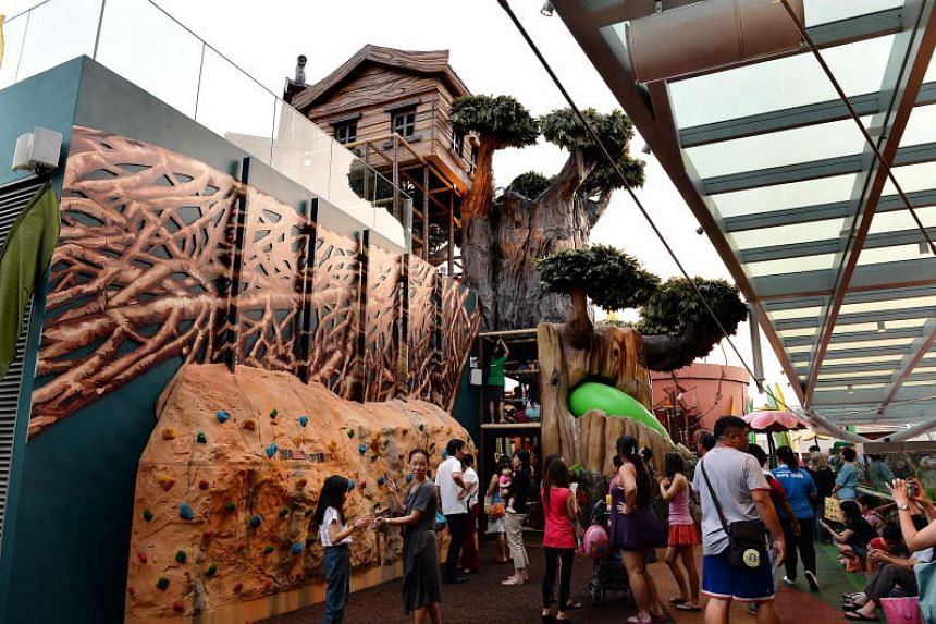 The playground at Westgate, which includes a 10m-tall tree house and a giant watering can that sprays water and oversized replicas of flora and fauna.