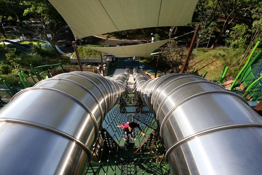 The playground at Admiralty Park, which features 26 slides.