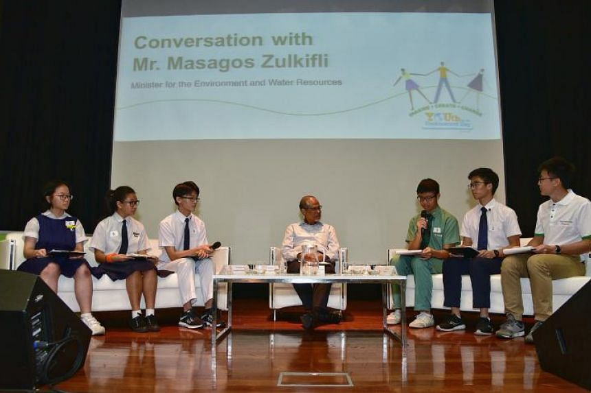 Minister for the Environment and Water Resources Masagos Zulkifli called on students to recycle waste and reduce consumption on Youth for the Environment Day on April 20, 2018.